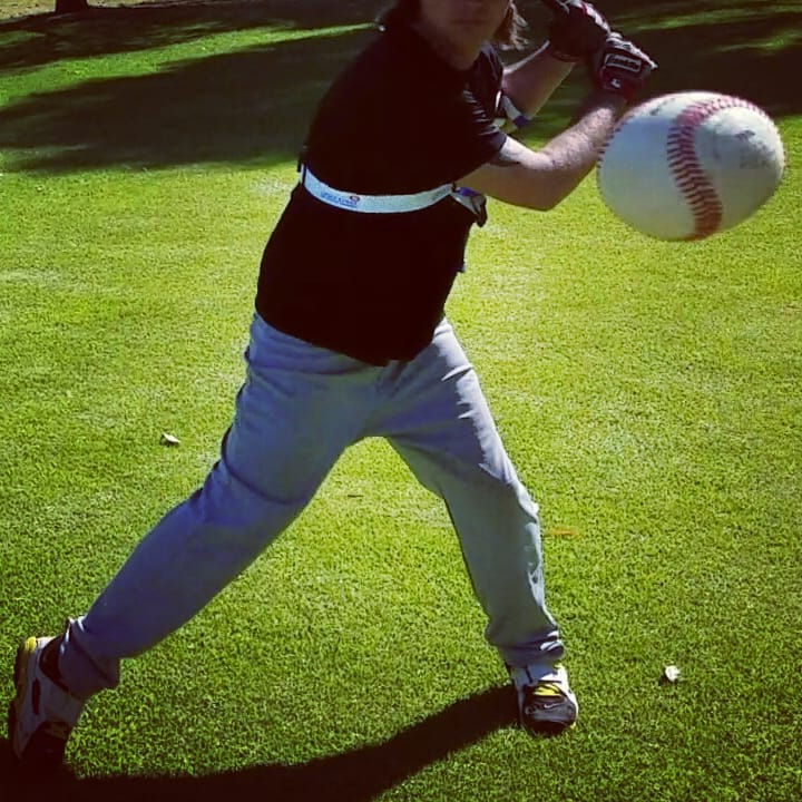 During your swing load, and seperation your back elbow moves away from your body; pushing against the Laser Power Swing Trainer. Patented Exoprecise resistance, strengthens your power hitting muscles, improves mechanics; releasing triggers a boost in bat speed to start your swing.