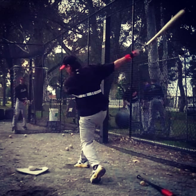 Reaching the extremities on the outside edge of home plate, release your top-hand; as you feel pressure on your back shoulder. Failure to do so results in a weak ground ball, pop-up or swing and miss. Why? Anatomically, your front arm has a longer reach, to the side, and front of your body.