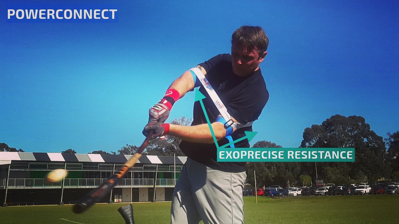 Our baseball hitting aid coaches you to stay connected for a powerful swing, improving bat speed, strength, and hands inside ball swing mechanics.