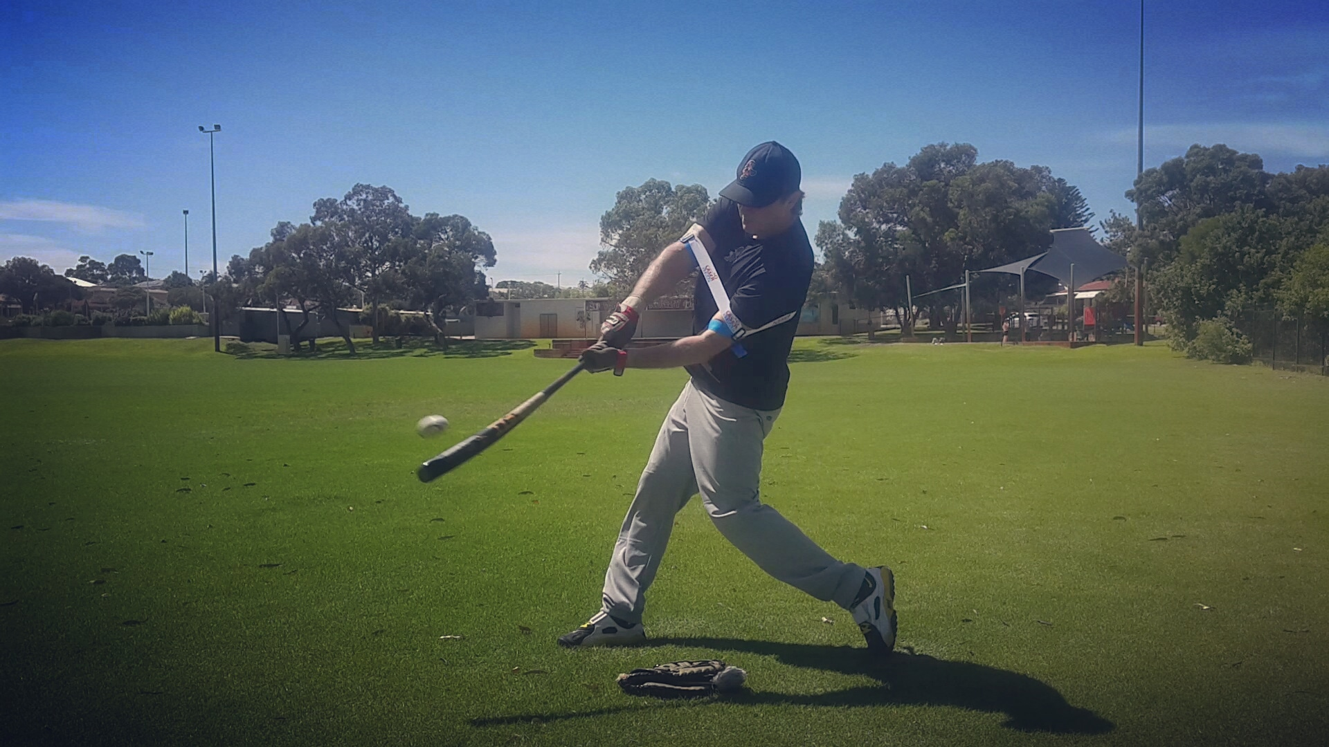 Eliminate hitting mistakes resulting from the elbows moving too far away from your body's center/core, such as casting, long-swing, etc.